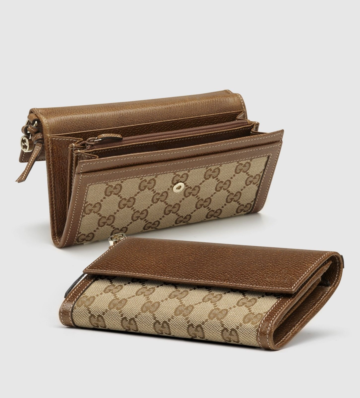 9a916aa0139 Gucci Womens Bree Gg Supreme Canvas   Leather Continental Wallet ...