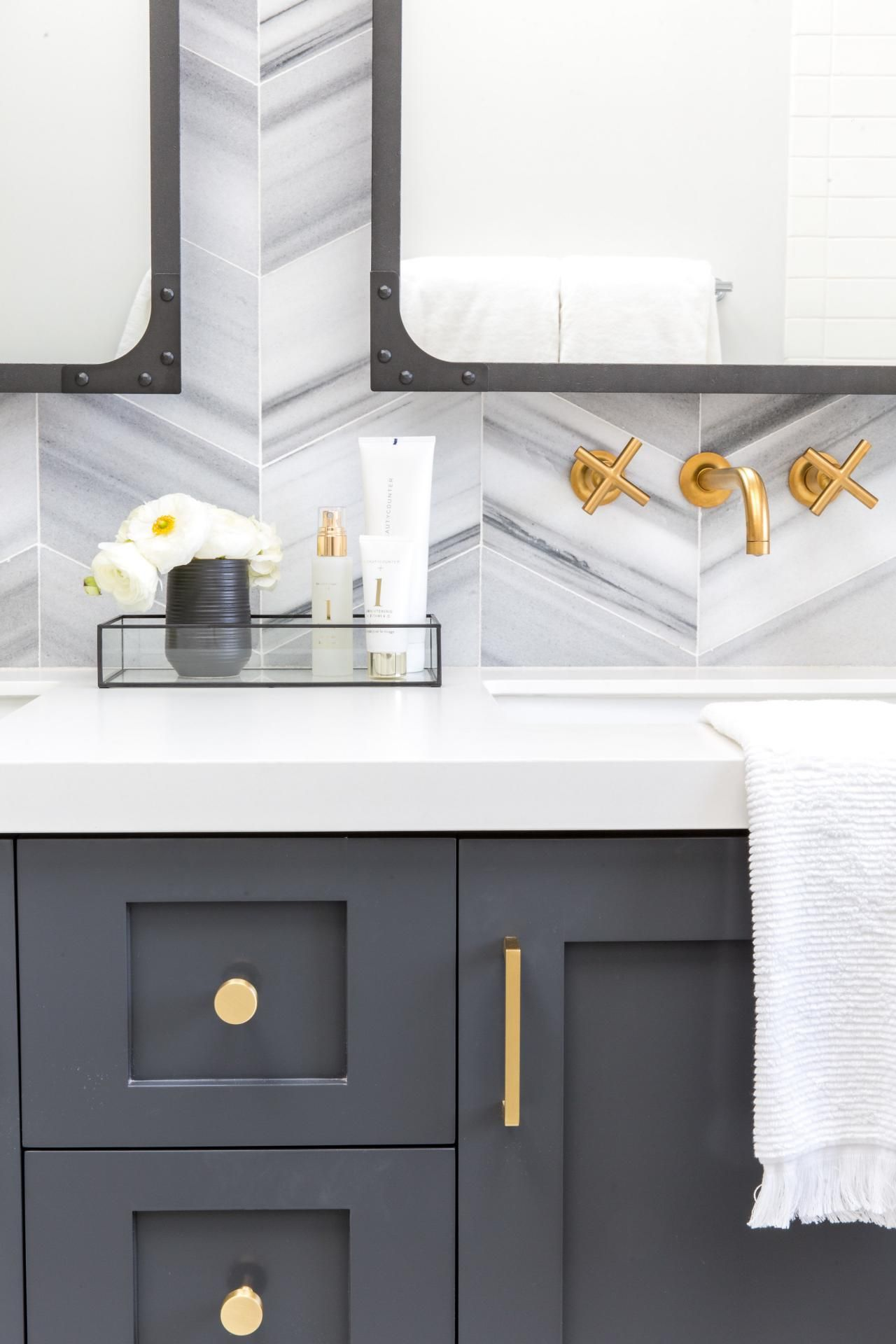 Dark Gray Vanity With Brass Dark Gray Bathroom Vanity With Brass Hardware Chevron Grey Bathroom Vanity Dark Gray Bathroom Grey Bathroom Cabinets