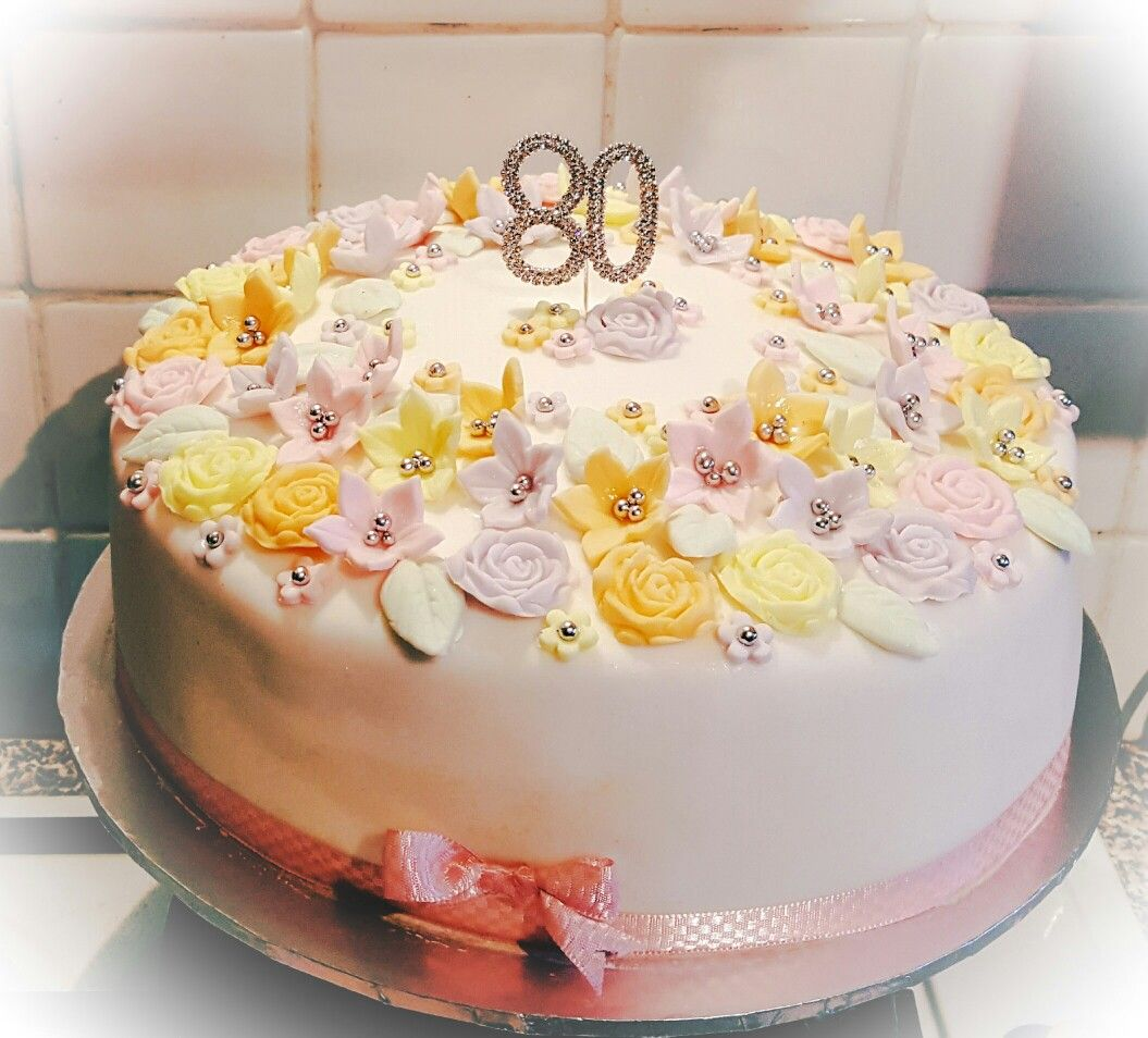 Floral Birthday Cake For 80 Year Old Lady