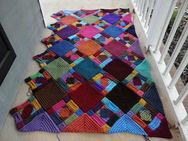 gehaakte patchwork deken