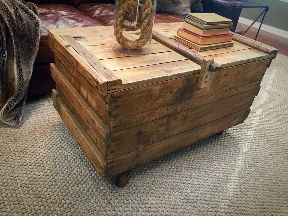 Antique Wood STORAGE Shipping Crate COFFEE TABLE Cast Iron Wheels - Shipping crate coffee table