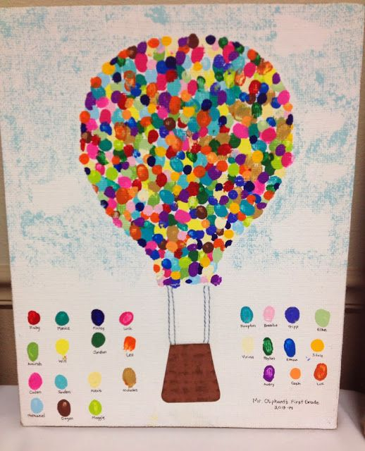 Hot air ballon finger print art for school art auction for Innovative painting ideas