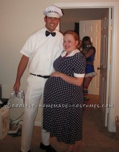 easy couples costume the milkman and pregnant housewife - Pregnant Halloween Couples Costumes