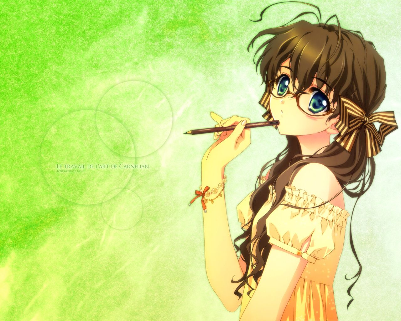 Cute girl anime blue brown hair cute eyes girl glasses green