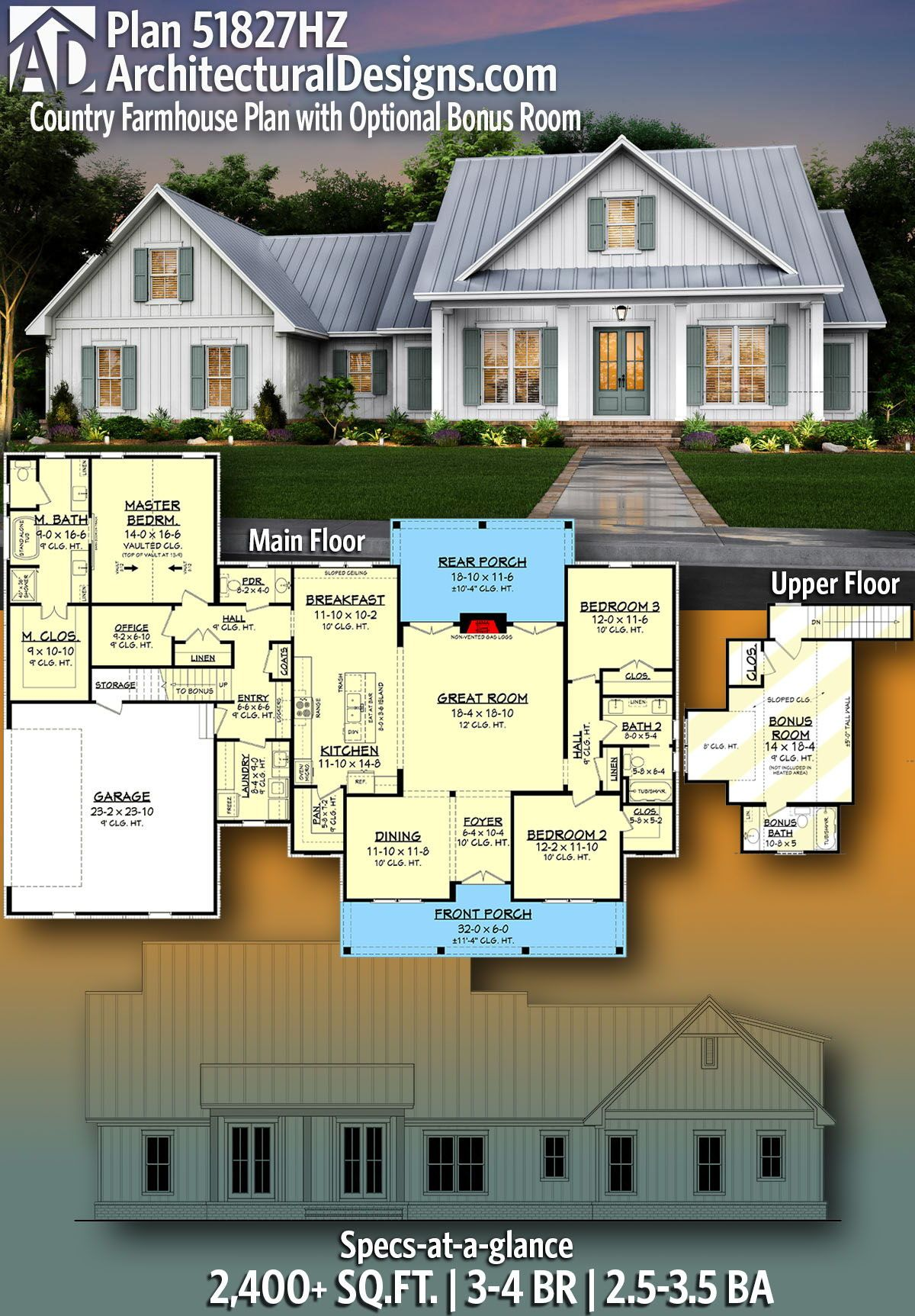 Plan 51827hz Country Farmhouse Plan With Optional Bonus Room In 2020 Farmhouse Plans Country Farmhouse New House Plans