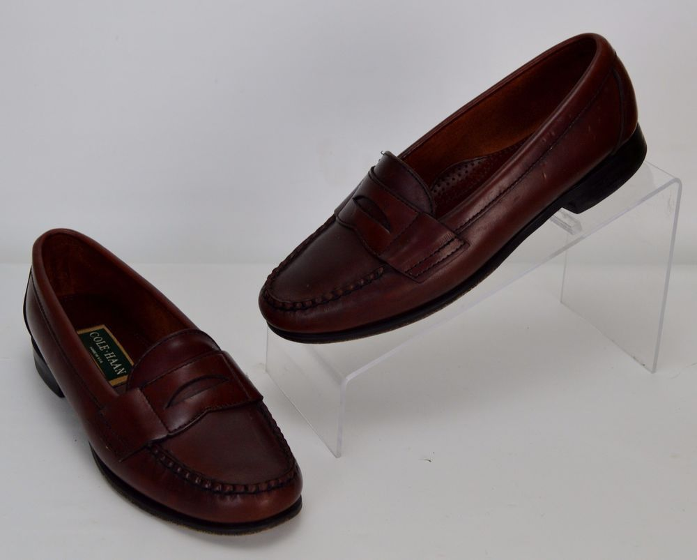 01a0c691974 Cole Haan Women s Size 7 C Wide Brown Leather Penny Loafers  ColeHaan   LoafersMoccasins