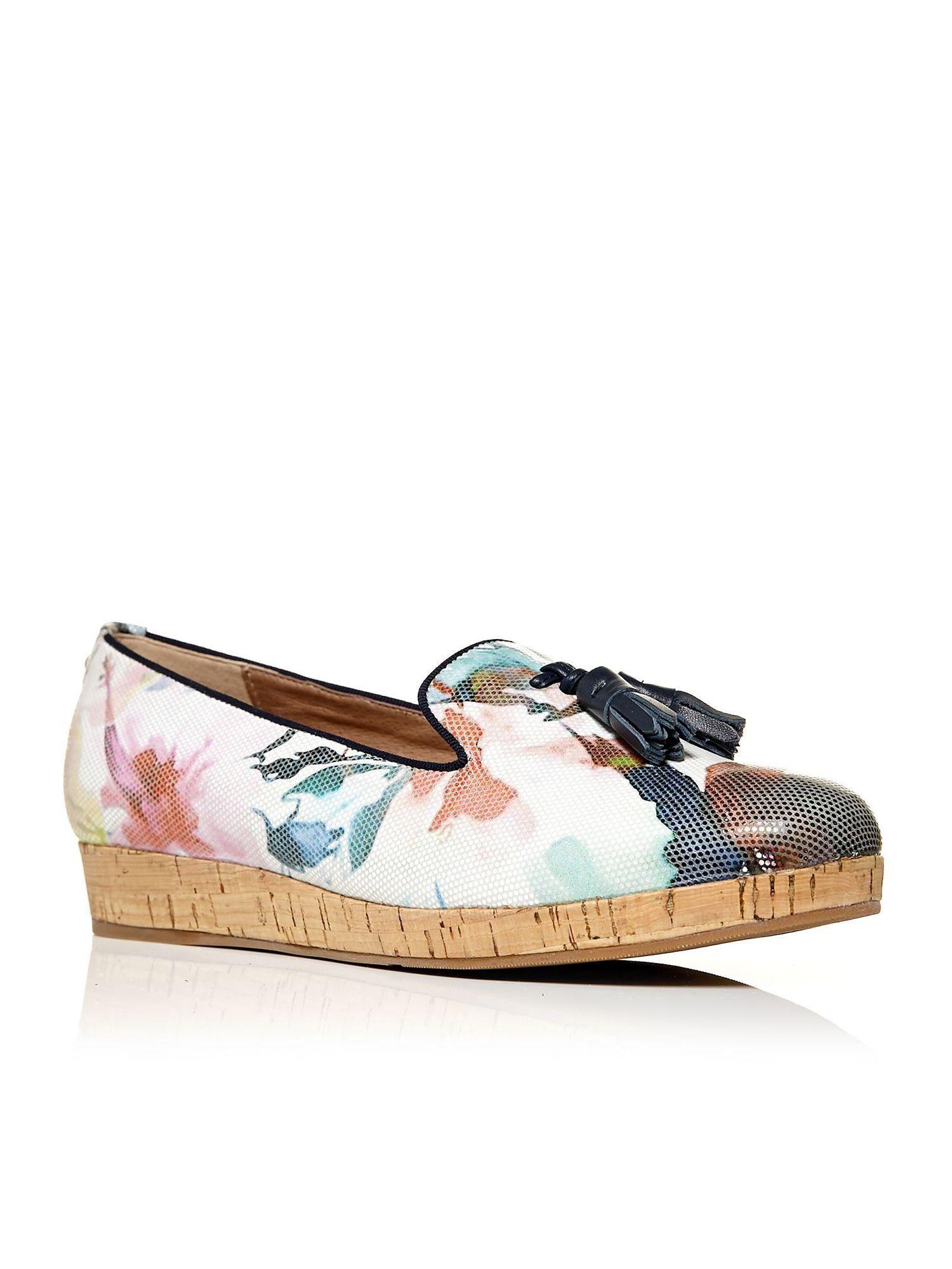 Moda in Pelle Estana cork sole slippers, Multi-Coloured