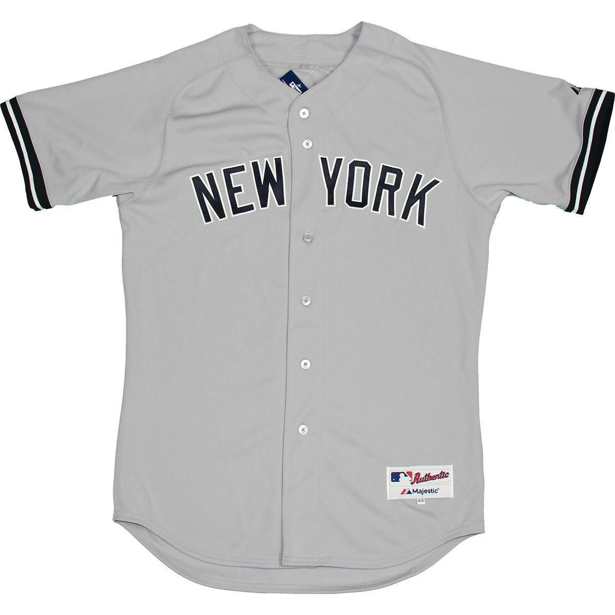 Majestic Authentic New York Yankees Gray Away Jersey L Bulk Size 44 Gray Away New York Yankees Jersey