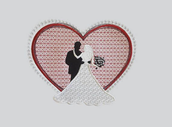 Wedding heart embroidery design bride and groom applique