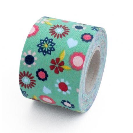 Fabric Tape De Tela De Flores Con Fondo Color Verde Masking Tape Washi Tape Washi