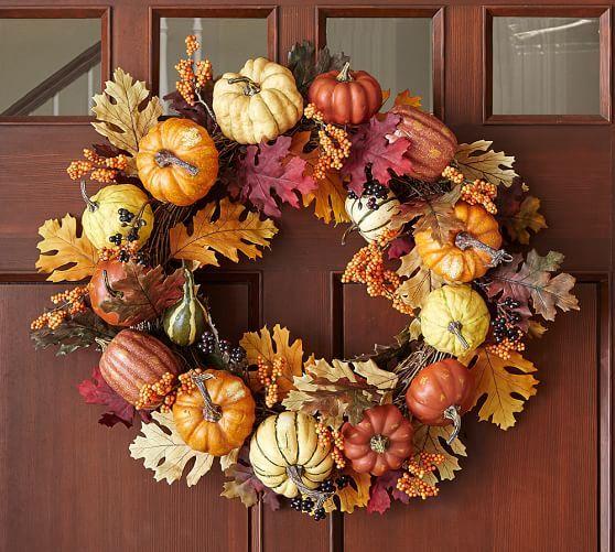 Faux Harvest Pumpkin Wreath Fall Decor Autumn Decorating Fall Home Decor