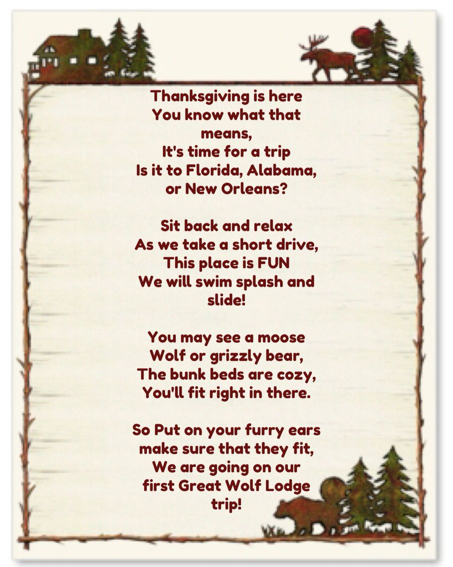 Great Wolf Lodge poem to surprise the kids with for our ...