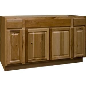 Hampton Assembled 60x34 5x24 In Sink Base Kitchen Cabinet In Natural Hickory Base Cabinets Unfinished Kitchen Cabinets Home Depot Kitchen