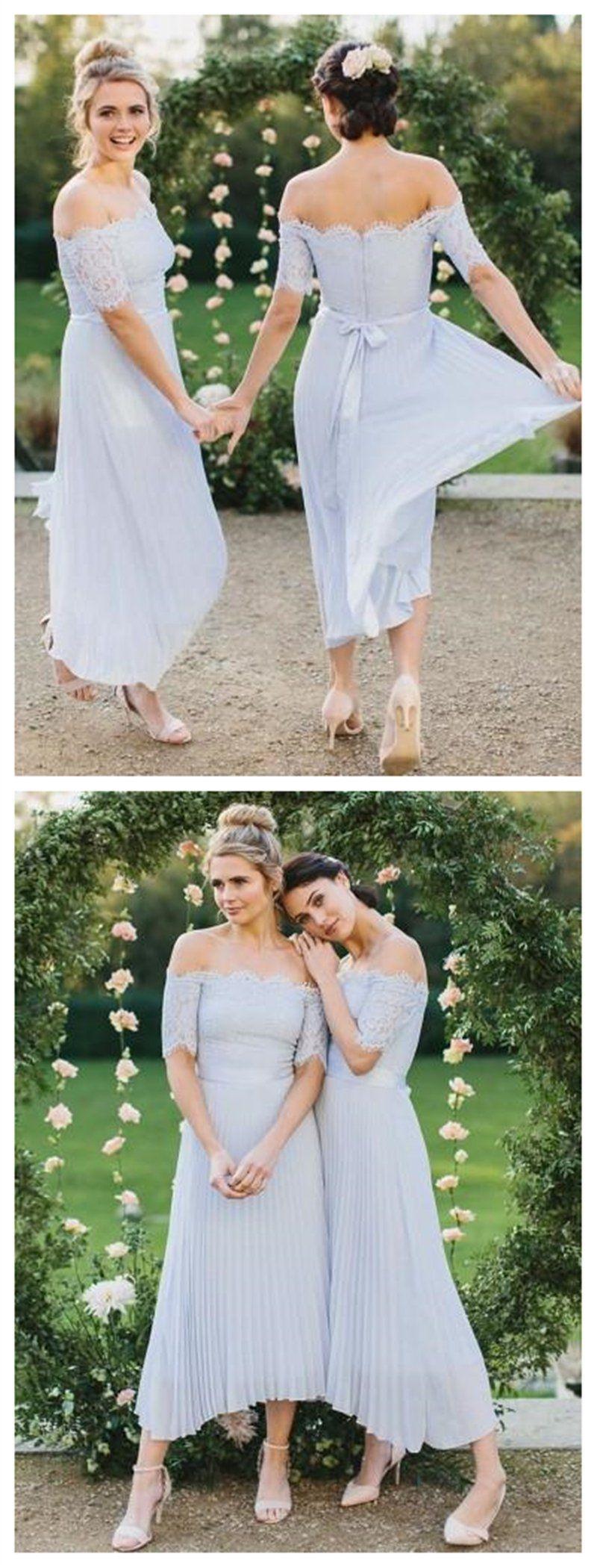 Baby blue off shoulder long sleeves short bridesmaid dresses online