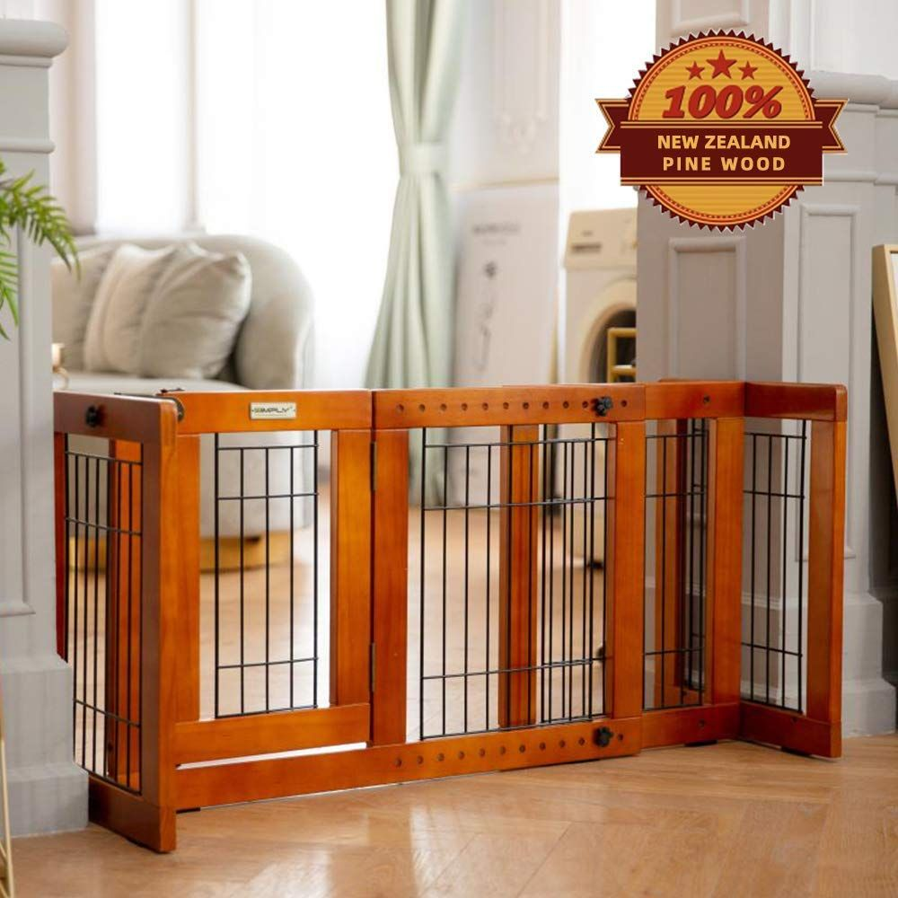 Simply Plus Tall Dog Gate With Door Walk Through Adjustable