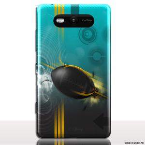 Coque pour Telephone Portable Nokia Lumia 820 | Design Rugby | Coque arriere a clipper sur cache Batterie
