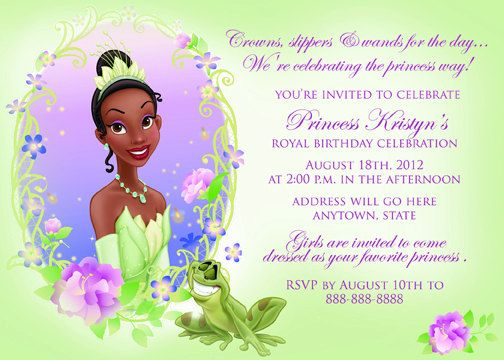 Disney Princess and the Frog Princess Tiana Digital file Print as – Princess Tiana Party Invitations