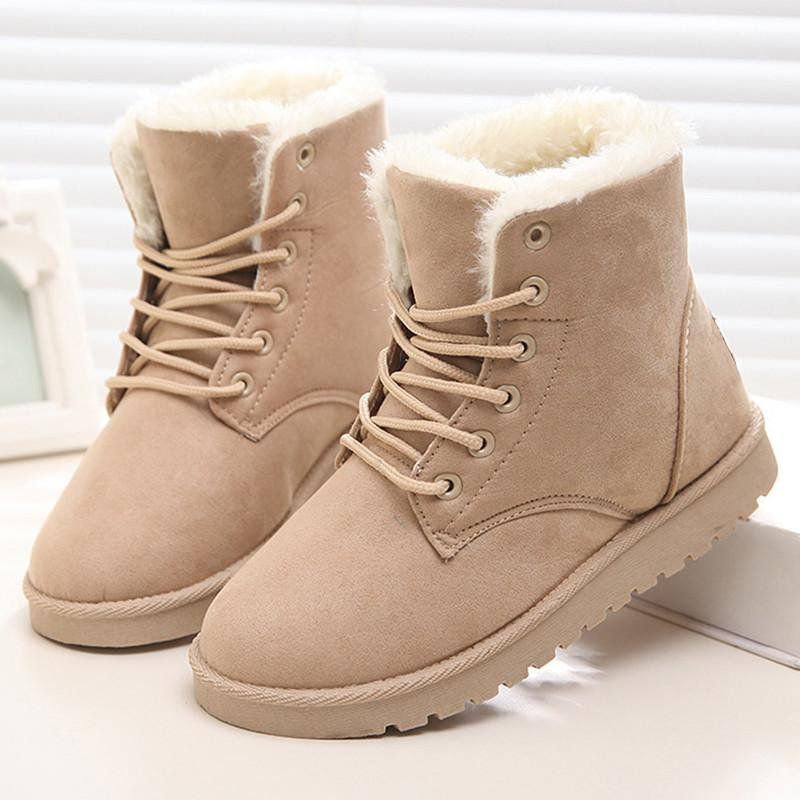women ankle short boots flat heel winter leather warm casual comfort shoelace snow cotton shoes . black . 36 ya5zNe2C