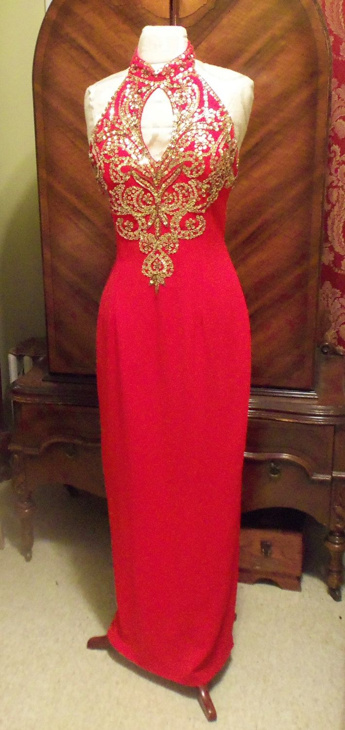 Royal red gown siren red evening gown gold by hopscotchcouture