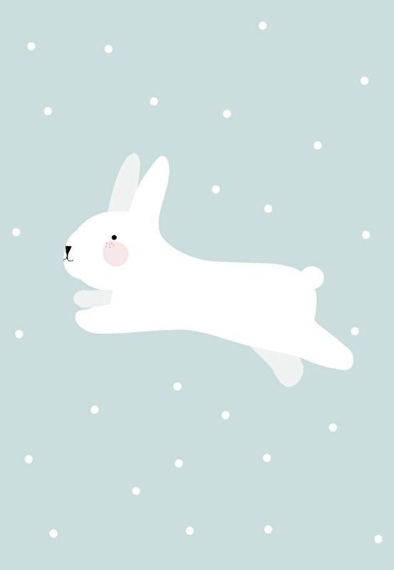 Eef Lillemor 'A3 Poster White Rabbit'