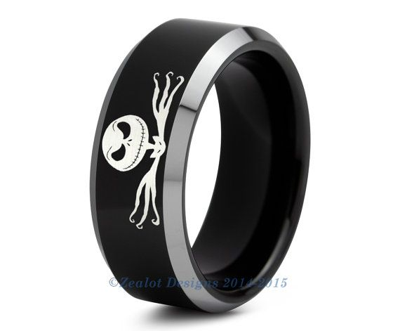 Nightmare Before Christmas Ring Jack Skellington Tungsten Wedding Band Men Womens Polished Beveled Edge Black Tungsten Rings Mens Wedding Bands Tungsten Rings