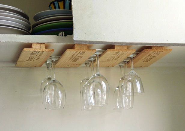 Turn a Wine Crate into a Stemware Holder >> http://blog.