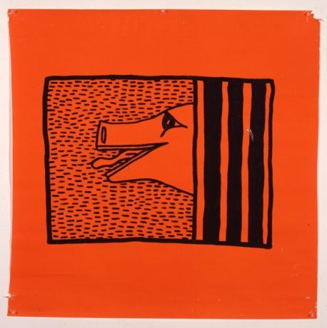 """Keith Haring At Brooklyn Museum: """"Untitled,"""" 1980, ink on orange paper"""
