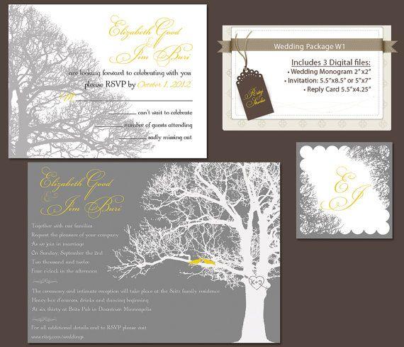 Digital Wedding Invitation Package DIY Invitations Reply Rsvp Card Monogram