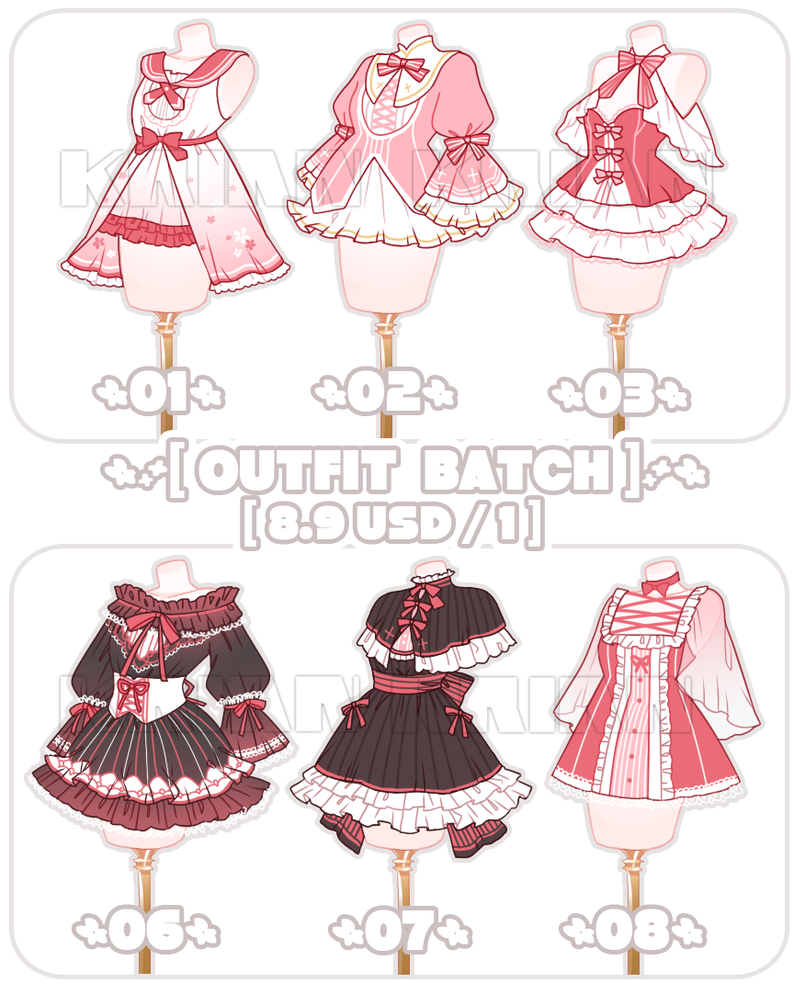 Set Price Open 3 6 Outfit Batch By Krianart Fashion Design Drawings Art Clothes Anime Outfits
