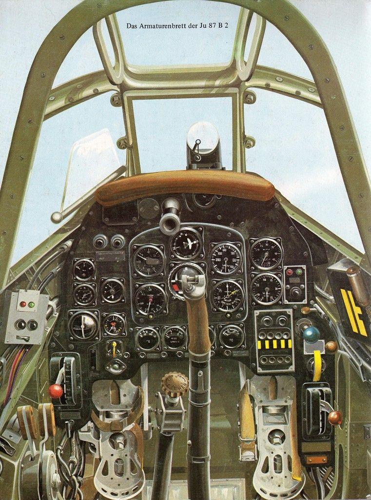 Cockpit of the Junkers Ju-87 B 2, Single engine German dive bomber ...