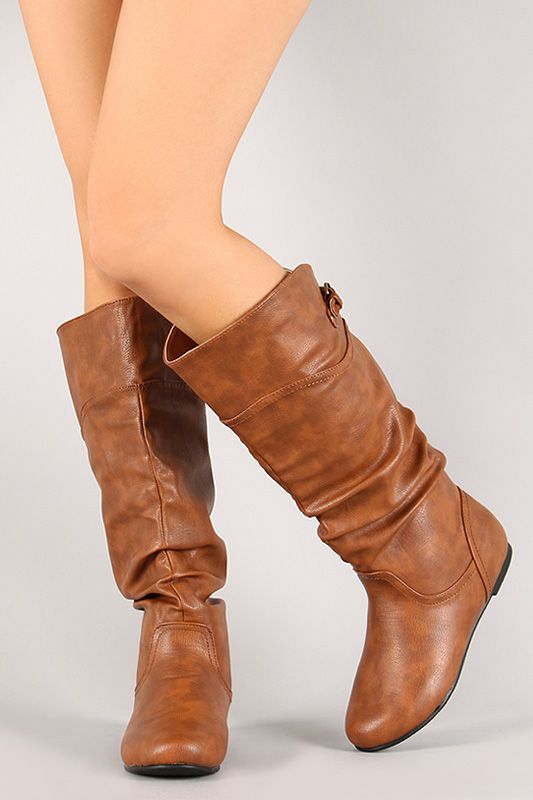 a5ac5c2339bc Shop Slouchy Mid Calf Flat Boot. Featuring slouchy shaft design, buckled  strap detail, round toe, low flat heel, and easy slip-on style.