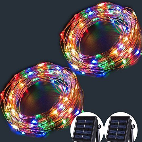 Solar String Lights100 LED Copper Wire Fairy Blinking Twinkle - solar christmas decorations