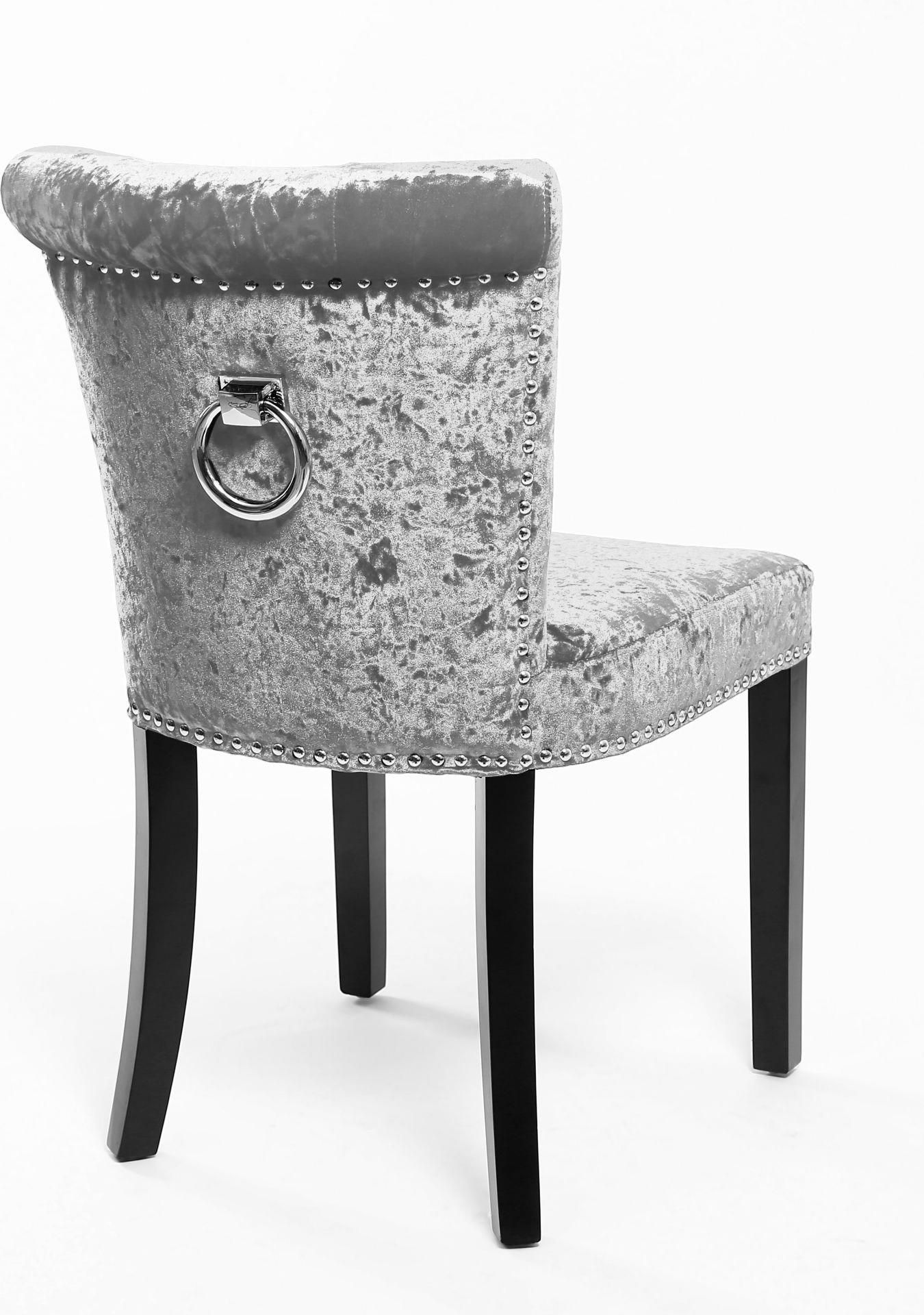 Sandringham Crushed Velvet Dining Chair In Silver Graydiningchairs