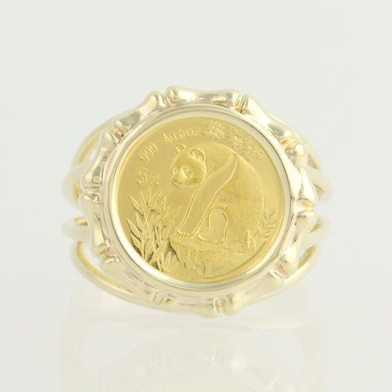 1993 Chinese Panda Coin Ring 10k Yellow Gold 24k Gold Coin 1 20oz L9193 Coin Ring Chinese Panda Gold Coins