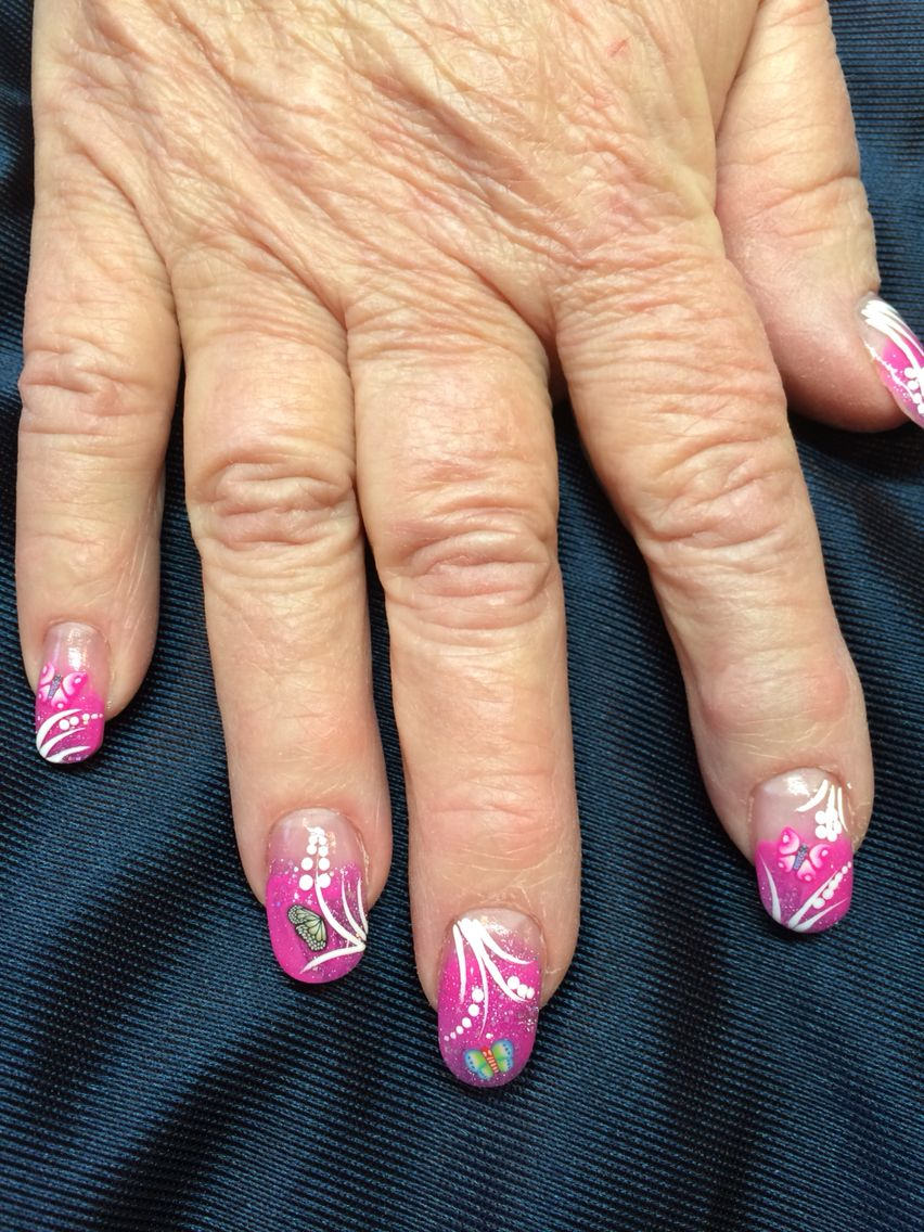 Butterflies In Colored Acrylic Jenuine Nails Pinterest Nails