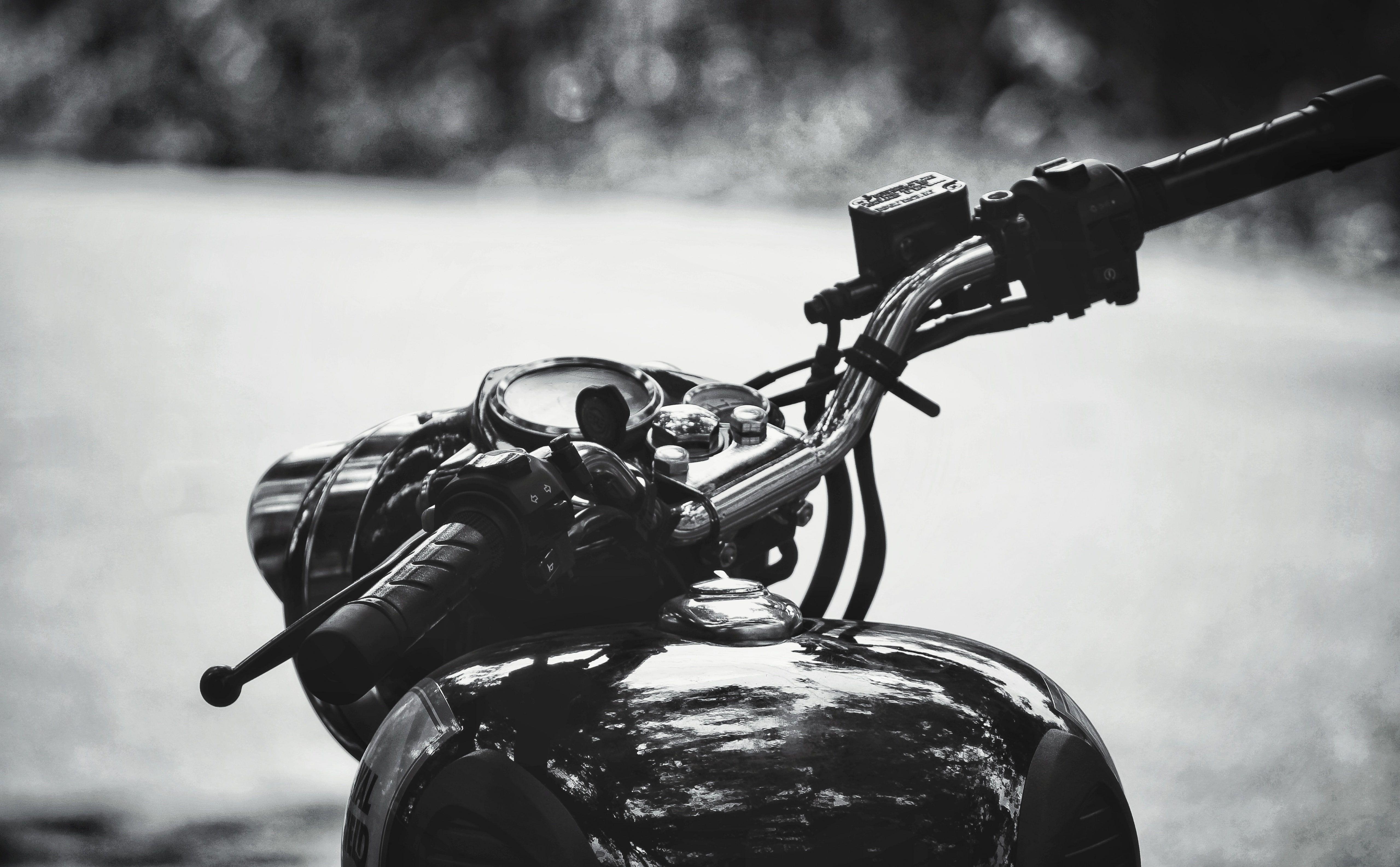 Royal Enfield Motorcycle Handle Black And White Blackandwhite