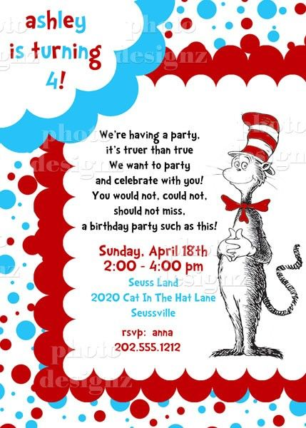 Dr Suess birthday invite Cat in The Hat Birthday – Cat Party Invitations