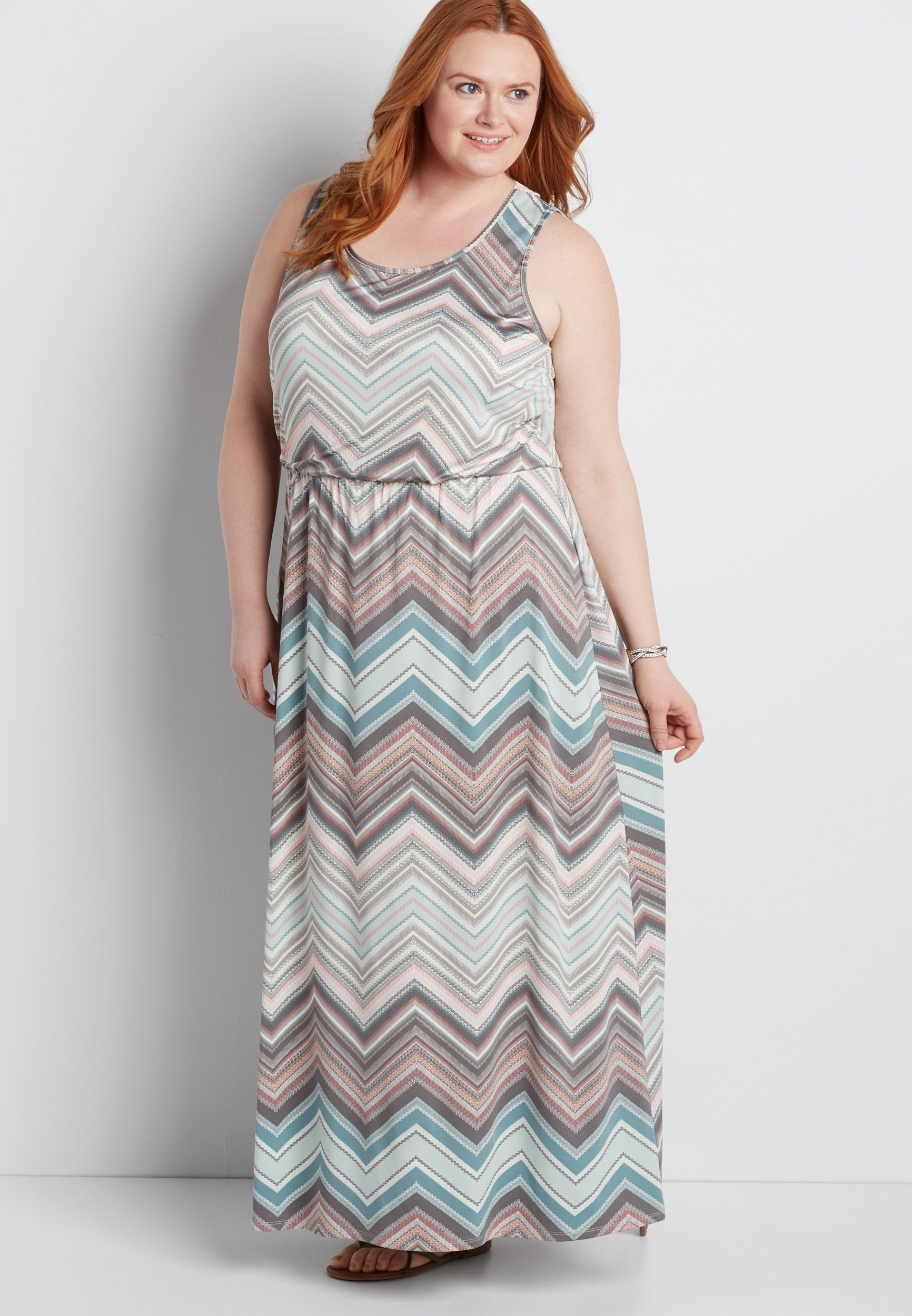 plus size chevron striped maxi dress with crocheted back ...
