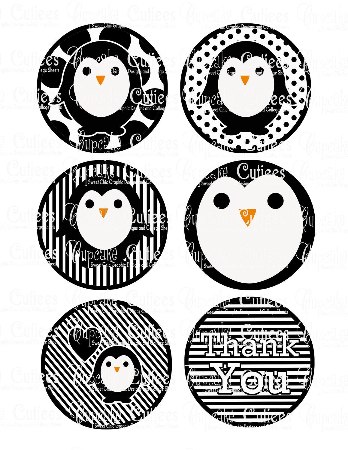Penguin Bw Classic Digital Large Round Tags N Toppers Printables