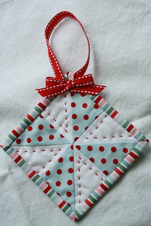 Mini Quilt Ornaments Fabric Christmas Ornaments Quilted Christmas Ornaments Handmade Christmas Ornaments