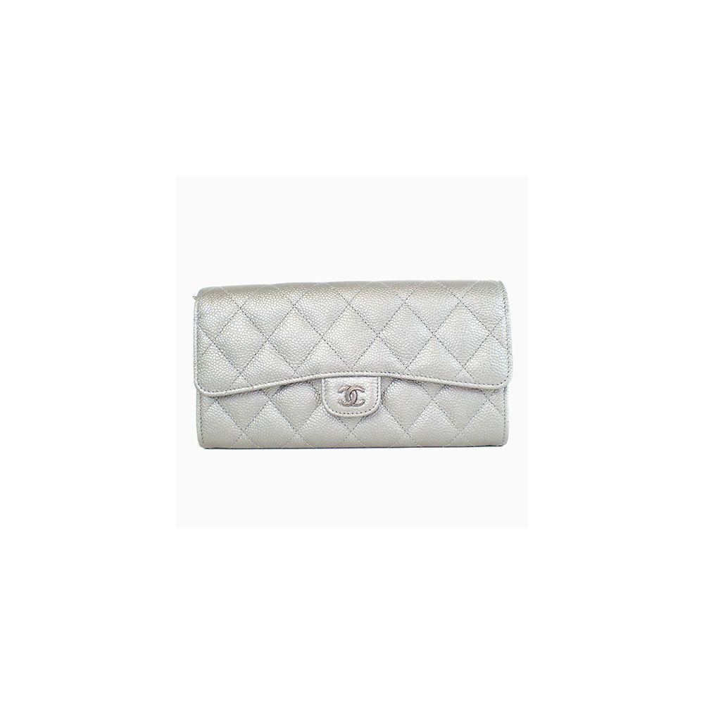 9ed514190d21 chanel Matelasse A31506 Lambskin Long Wallet (bi-fold) Silver ...