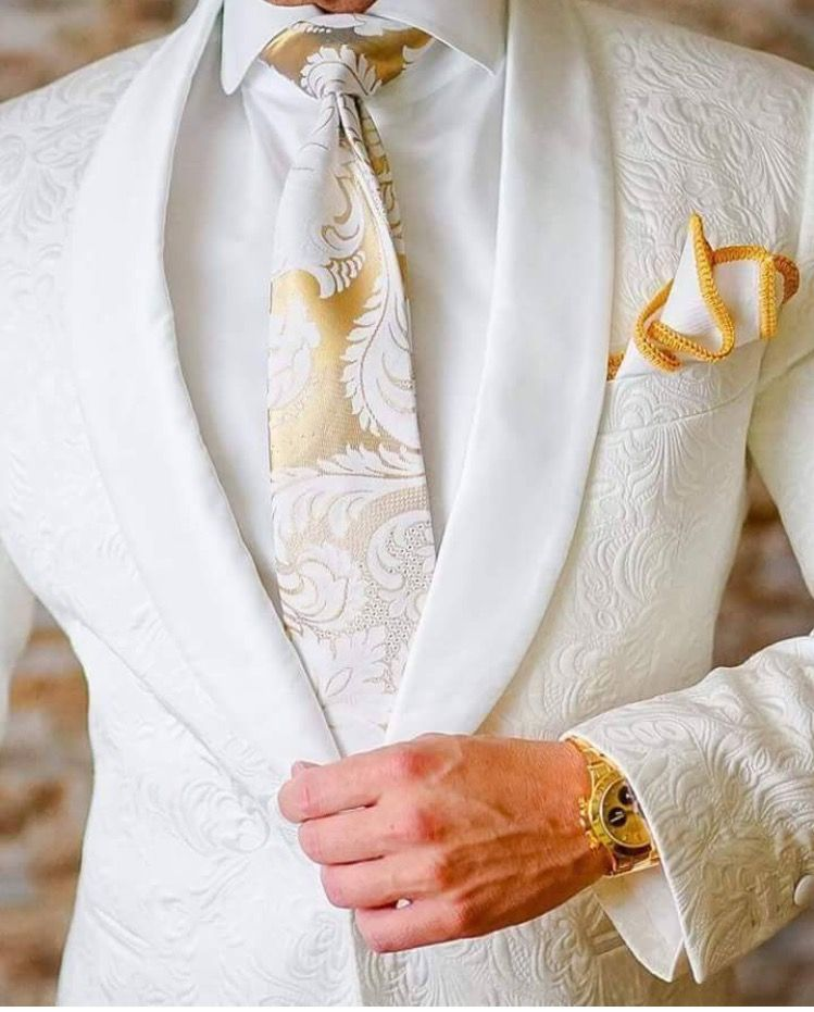 White And Gold Suit Fancy AF