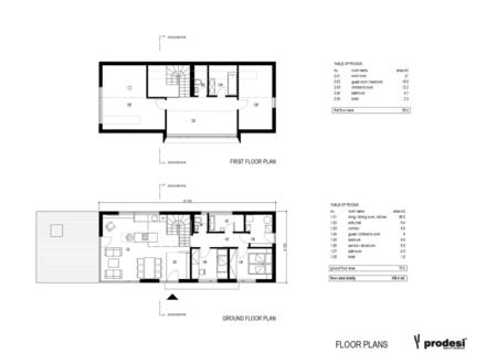 Simple Two Story House Rectangular Plans Panoramic Plan First And
