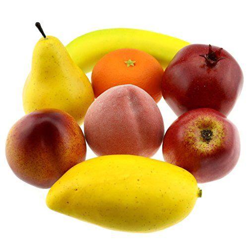 df671215ed99 Gresorth Fake Mixed Fruit Decoration Set of Orange Peach Apple Banana  Pomegranate Mango 8 Fruits -- You can get additional details at the image  link.