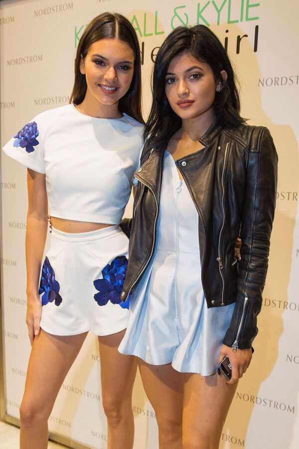 a96e29d4f09 Kendall Jenner and Kylie Jenner at their line premier - matching shorts and  crop top pairing