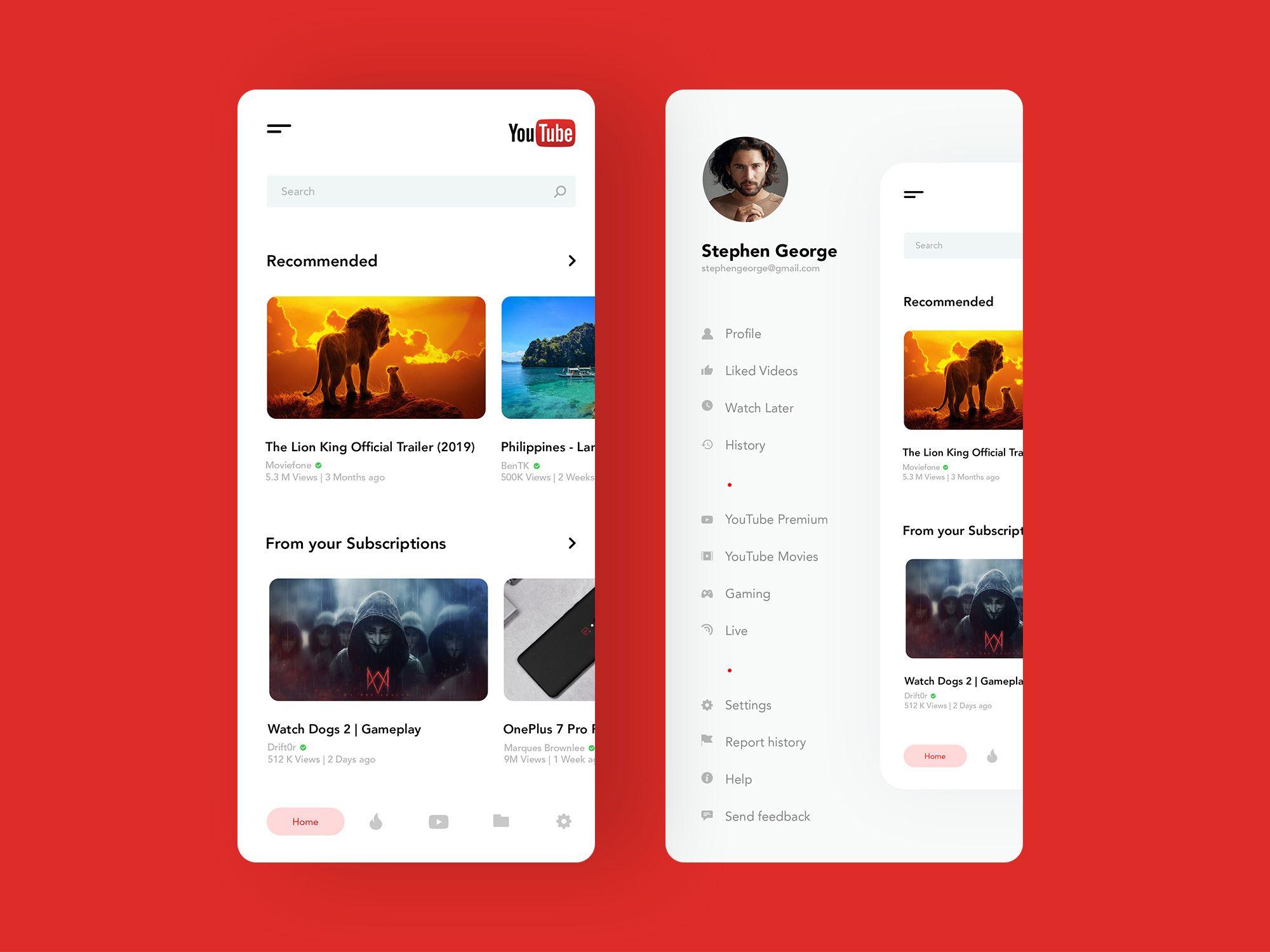 Youtube App Concept Design Youtube, App design, App
