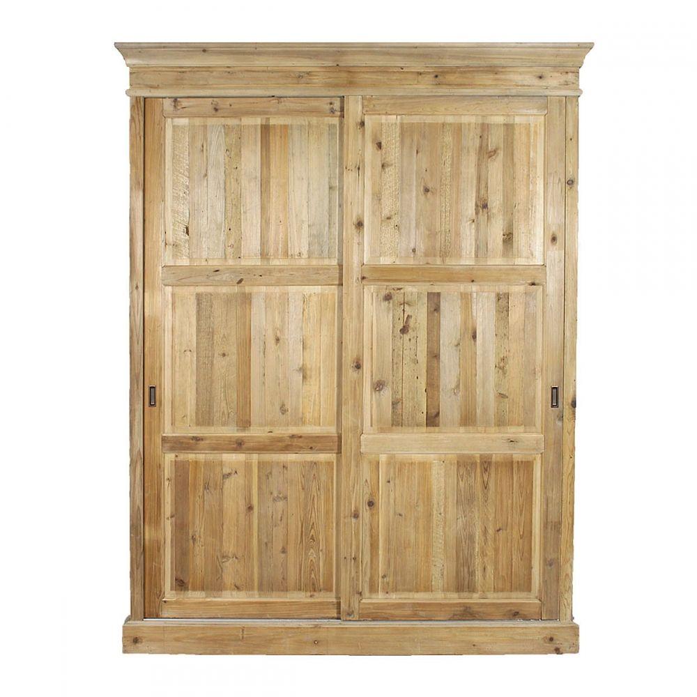 Armoire 2 portes coulissantes en pin massif recycl deco chalet pinterest portes for Armoire pin massif porte coulissante