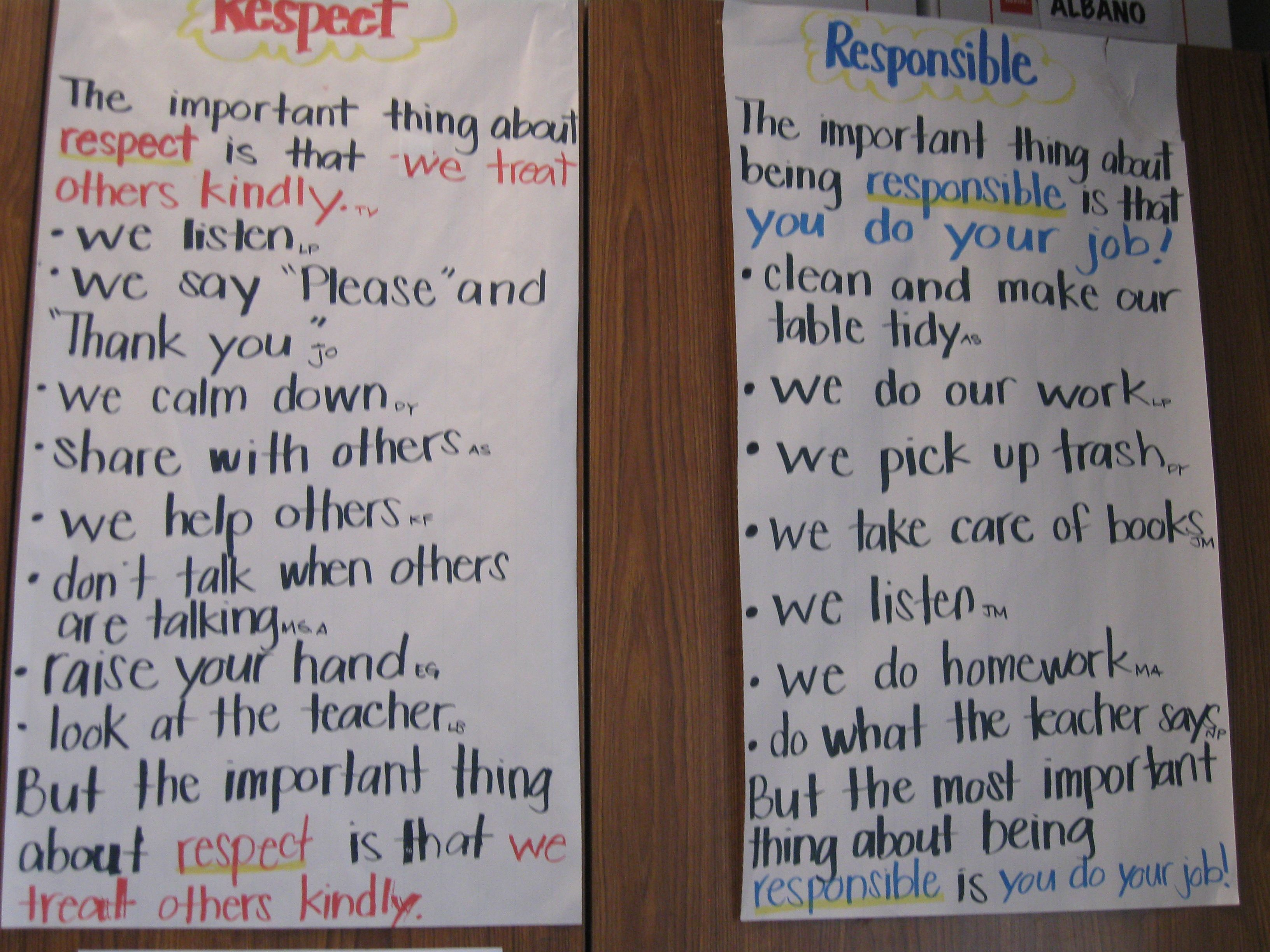 Respect And Responsibility Chart I Think I Need This Mid