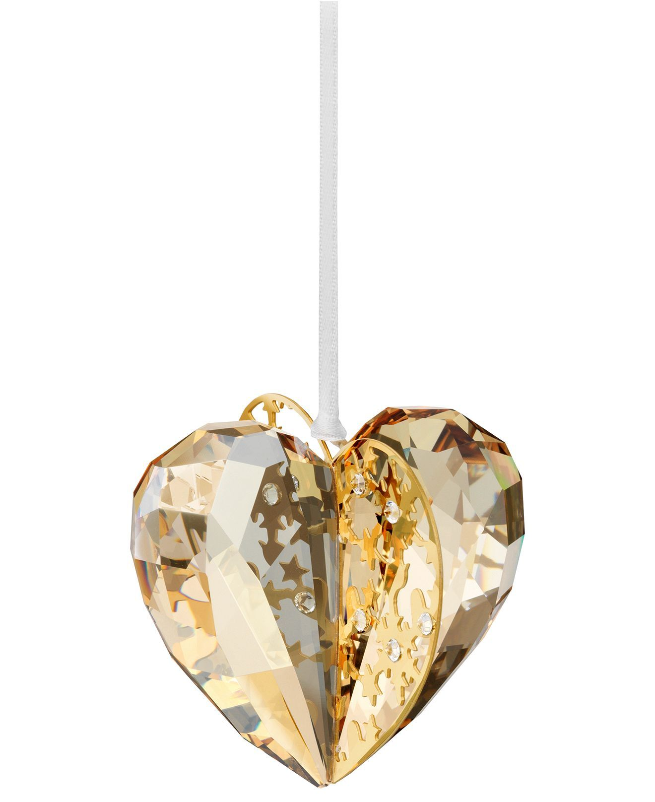 Swarovski Christmas Ornament, Golden Shadow Heart