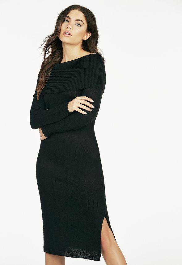 e719ff97db Off Shoulder Sweater Dress in Black - Get great deals at JustFab ...
